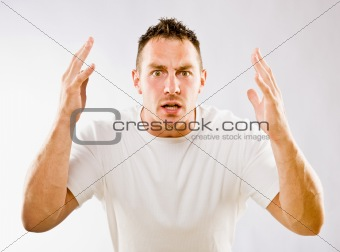Man gesturing in surprise