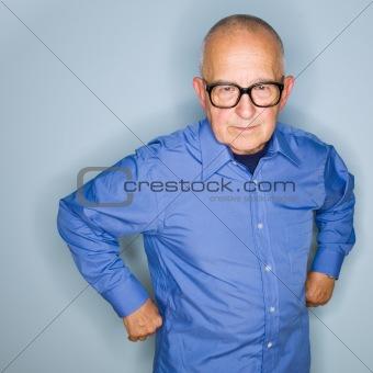 Angry senior man in eyeglasses