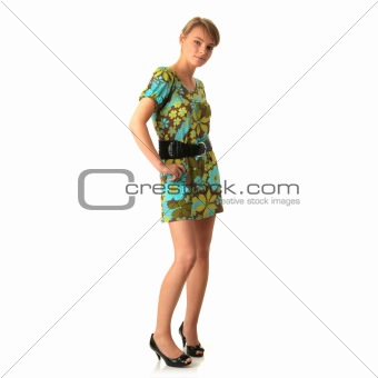 Attractive blonde in green summer dress