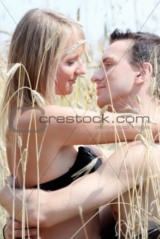 A beautiful couple in wheat field