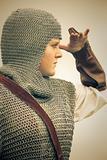 woman / medieval armor / retro split toned