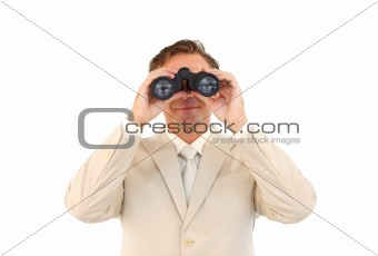 Portrait of mature businessman using binoculars