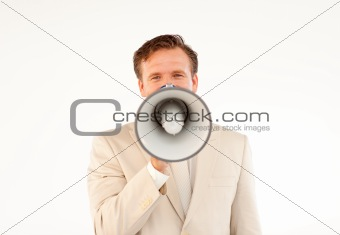 Mature businessman making a announcement via a megaphone