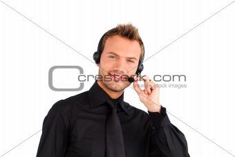 Attractive friendly customer service representative man