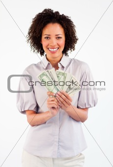 Smiling Afro-American businesswoman showing dollars