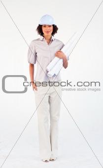 Architect woman holding blueprints