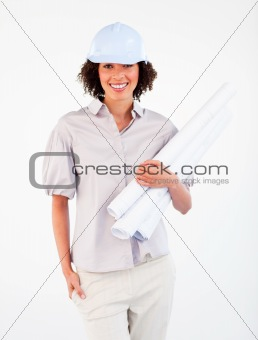Smiling architect woman holding plans