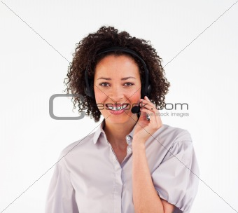 Beautiful Afro-American businesswoman with headset