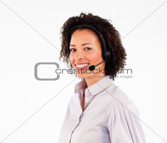 Smiling african operator working with headset