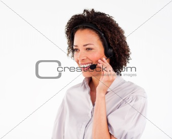 Portrait of beautiful businesswoman with headset