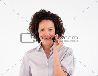 Attractive woman communicating via headset