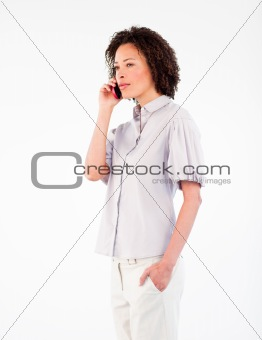 Attractive businesswoman speaking on a mobile