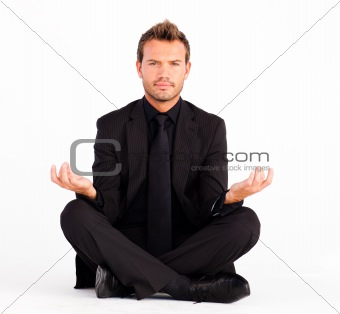 Attractive man meditationg