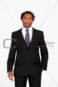 Attractive businessman in front of the camera