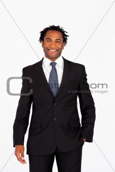 Portrait of smiling businessman looking at the camera