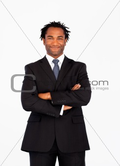 Afro-american businessman with crossed arms