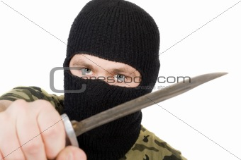 Portrait of the killer with a knife