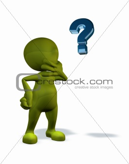 3d rendered character with question mark