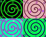 Details of colored spirals on colorful backgrounds