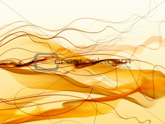Abstract orange smoke, waves and mesh