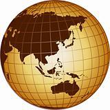 globe asia and australia