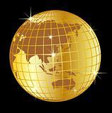golden globe asia and australia on black background
