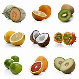 Various exotic fruits composition