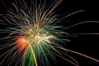 fireworks explodes