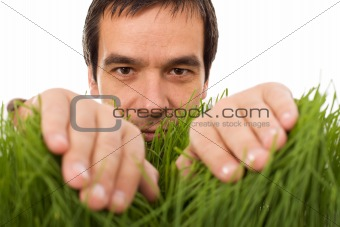 Man hiding behind grass blades