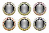 Ornate Black Vector Glossy Button Set with 6 Color Combinations of the Outer Ring Elements.