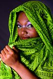 Shy African woman with scarf