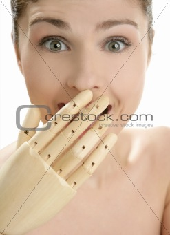 woman portrait smiling with mannequin hand