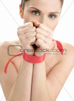 Beauty portrait of funny tied hands woman
