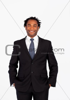 Smiling businessman looking at the camera