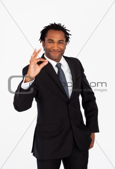 Afro-american businessman showing okay sign