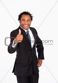 Portrait of businessman with thumb up