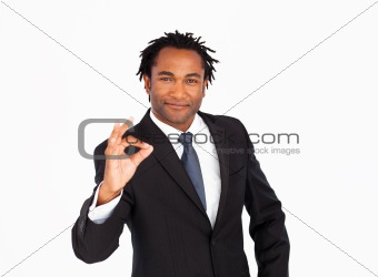 Portrait of businessman showing okay sign