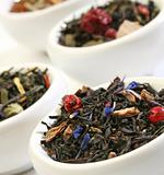 Various bowls of premiun tea leaves blends