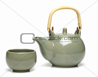 Ceramic teapot and a tea cup