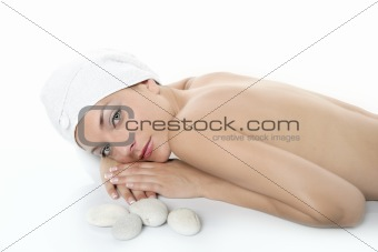 Beautiful spa blue eyes woman relax over white