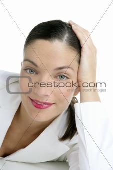 Beautiful white suit businesswoman portrait