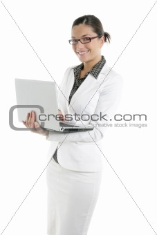 Modern businesswoman with white suit