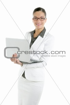 Beautiful white image of businesswoman and laptop