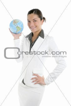 Businesswoman with white suit and global map