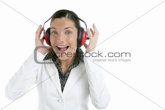 Businesswoman and safety headphones expression