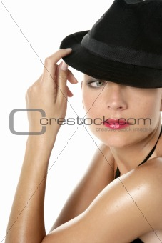 Beautiful red lips woman portrait with black hat