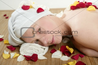 Beautiful woman relaxing spa, aromatherapy