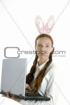 business laptop woman, humor and rabbit ears
