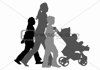 Mom with children and pram