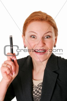 foxy woman with pen isolated on white
